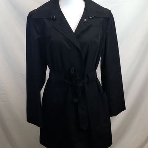 London Fog Black Trench Coat with Tie Waist